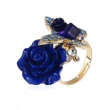 1E0117 Кольцо Бабочка и роза, цвет синий