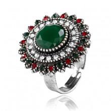 1E0118-2 Кольцо безразмерное, цвет зелёный