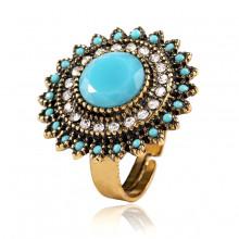 1E0118-3 Кольцо безразмерное, цвет голубой