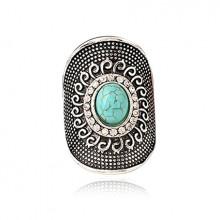 1E0119-2-17 Кольцо с бирюзой, размер 17