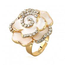 1E0120-1 Кольцо Цветок, цвет белый