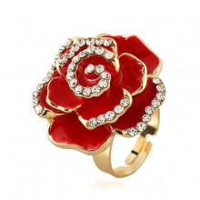 1E0120-2 Кольцо Цветок, цвет красный