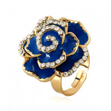 1E0120-3 Кольцо Цветок, цвет синий