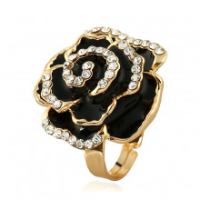 1E0120-4 Кольцо Цветок, цвет чёрный