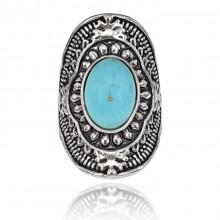 1E0126-1-20 Кольцо с бирюзой, цвет серебряный