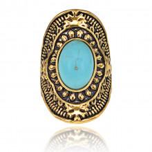 1E0126-2-17 Кольцо с бирюзой, цвет золотой