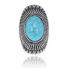 1E0130-17 Кольцо с бирюзой, размер 17