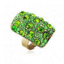 1E0132-1 Кольцо со стразами, цвет зелёный