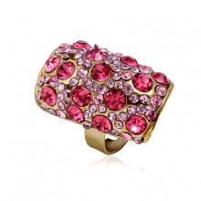 1E0132-2 Кольцо со стразами, цвет розовый