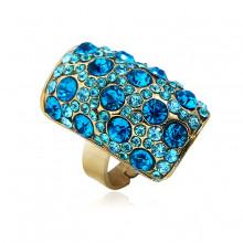 1E0132-3 Кольцо со стразами, цвет голубой