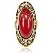 1E0133-1-17 Кольцо Овал со стразами, цвет красный