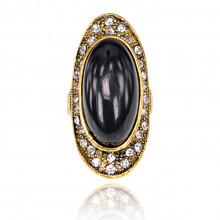 1E0133-2-16 Кольцо Овал со стразами, цвет чёрный