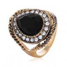 1E0138-18 Кольцо с чёрным кристаллом, размер 18