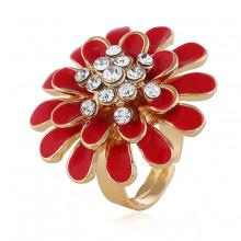 1E0141-1 Кольцо Цветок, цвет красный