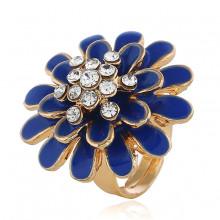 1E0141-2 Кольцо Цветок, цвет синий