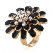 1E0141-3 Кольцо Цветок, цвет чёрный