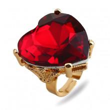 1E0142-1 Кольцо Сердце с красным кристаллом