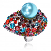 1E0147-1 Кольцо Капля, цвет голубой