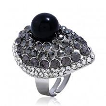 1E0147-2 Кольцо Капля, цвет чёрный