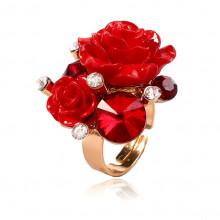 1E0148 Кольцо Розы безразмерное, цвет красный