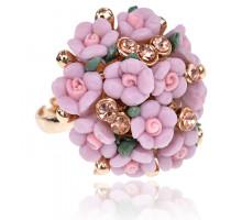 1E0149-1 Безразмерное кольцо Букет, цвет розовый