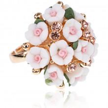 1E0149-2 Безразмерное кольцо Букет, цвет белый