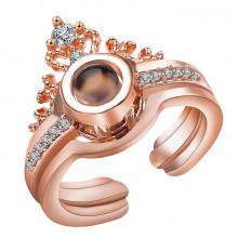 1E0156-1 Безразмерное кольцо Я тебя люблю на 100 языках мира, Корона, золот.