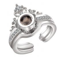 1E0156-2 Безразмерное кольцо Я тебя люблю на 100 языках мира, Корона, серебр.