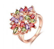 1E0157 Кольцо Цветок с позолотой, размер 17