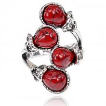 1E0159-1 Кольцо Гроздь, размер 17, цвет красный