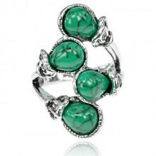 1E0159-2 Кольцо Гроздь, размер 17, цвет бирюзовый