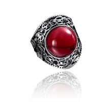 1E0160-1 Кольцо Винтаж, размер 17, цвет красный