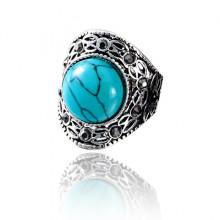 1E0160-2 Кольцо Винтаж, размер 17, цвет голубой