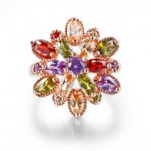 1E0161-1-18 Кольцо Цветок с позолотой, размер 18