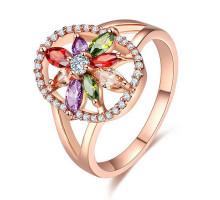 1E0162-1-17 Кольцо Цветок с позолотой, размер 17
