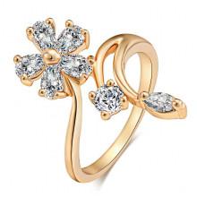 1E0163 Кольцо Цветок с позолотой, размер 18