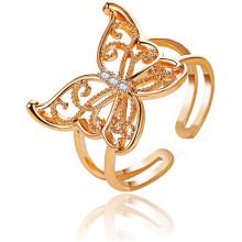 1E0167-1 Безразмерное кольцо Бабочка, 17мм, цвет золотой