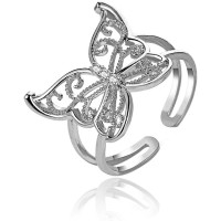 1E0167-2 Безразмерное кольцо Бабочка, 17мм, цвет серебряный