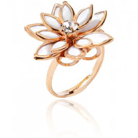 1E0170 Безразмерное кольцо Цветок со стразой, 20мм