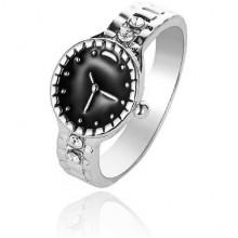 1E0173-2 Кольцо Часы, размер 16, цвет серебряный