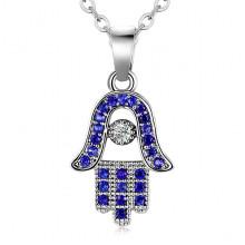1F0019-2 Кулон на цепочке Глаз Фатимы с синими стразами, 15х11мм
