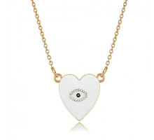 1F0020-3 Кулон Сердце с эмалью, 25х20мм, цвет белый