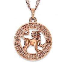 1F0023-12 Кулон с цепочкой Знаки Зодиака - Лев