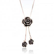1F0024-1 Кулон Роза на цепочке, цвет золото