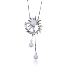 1F0041 Кулон Лиана с жемчугом, цвет серебряный