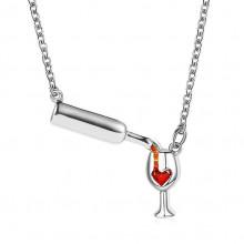 1F0046-1 Кулон Эликсир любви с цепочкой, цвет серебро