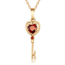 1F0075 Кулон Ключ от сердца с позолотой, 27х9мм