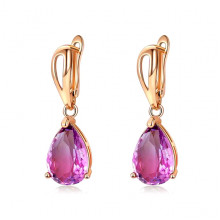 1G0008-3 Серьги с позолотой, цвет фиолетовый, 32х10х15мм