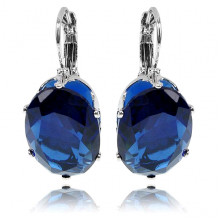 1G0025-2 Серьги с посеребрением, цвет синий, 29х13х5мм