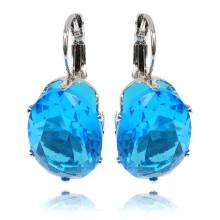 1G0025-5 Серьги с посеребрением, цвет голубой, 29х13х5мм